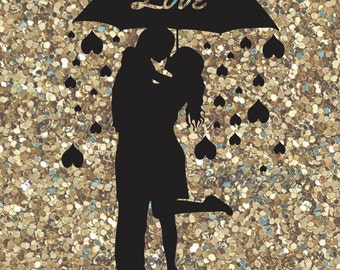 Love Kissing In the Rain, Raindrop hearts,  DIY Paper Cut File for silhouette or circut - SVG file - Srapbooking and Paper Art