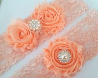 Bridal Garter Set, Peach Garter Set, Peach Stretch Lace Garter, Keepsake Garter,  Toss Garter, Peach Wedding Garter Set