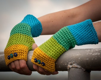 Blue Green Yellow Fingerless Gloves / 100% Cotton Crochet Arm Warmers / Rainbow Striped Button Gloves / Fall Winter Accessories Gift Idea