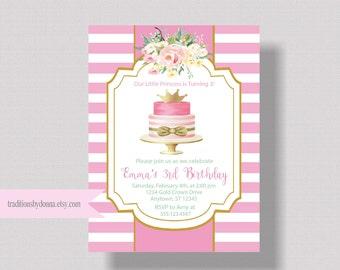 GIRLS BIRTHDAY INVITATION Pink and Gold Princess Birthday Invitation | Watercolor Floral Invitation First Birthday Shabby Chic Boho Invite