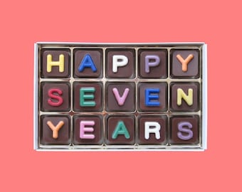7th Anniversary Gift for Men 7 Seven Years Wedding Anniversary Gift for Him Husband Gift Wife Personalized Gift Chocolate Jelly Bean Cube
