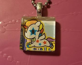 Tokidoki Unicorno Bowie glass tile necklace