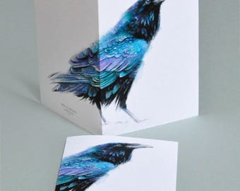 Raven Watercolor Art Card, Small Gift, Set of 5, Set of 10
