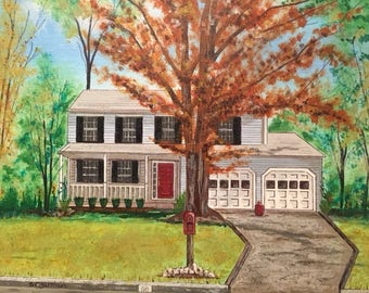 Hand painted house portraits