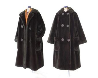 50s fur coat * faux fur jacket * 1950s winter coat * large