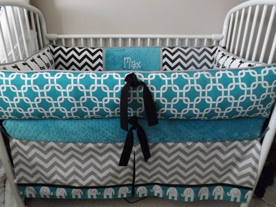 Elephant Teal Gray Black Baby Bedding Crib Set Deposit Down