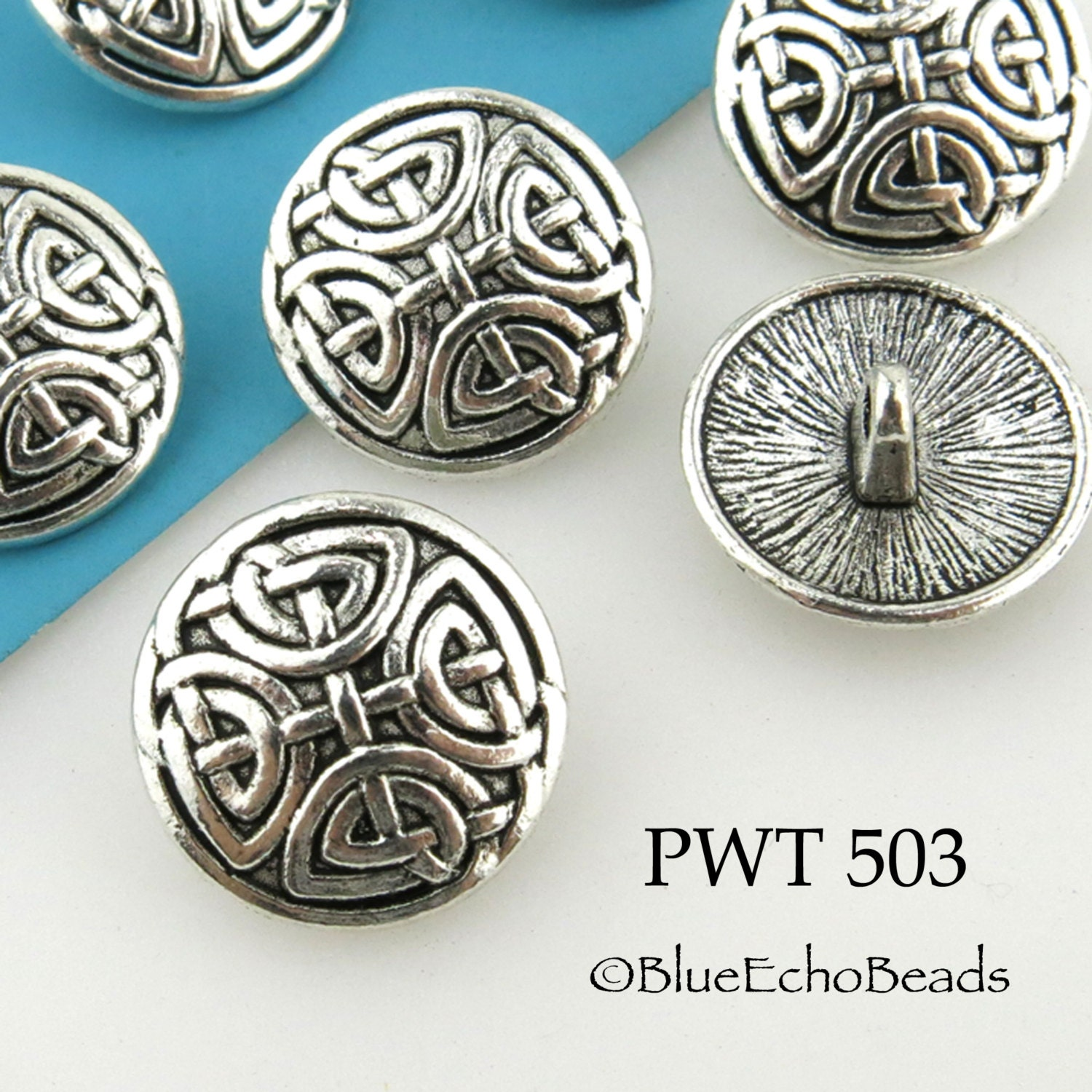 Celtic Cross Pewter Button 17mm Antiqued Silver PWT 503 6 - photo#2