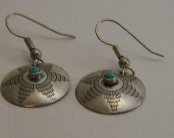 Vintage Navajoe Silver and Turquoise Earrings