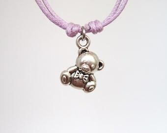 TEDDY BEAR bracelet, bear charm bracelet, minimalist bracelet cord bracelet cotton cord bracelet friendship bracelet anklet