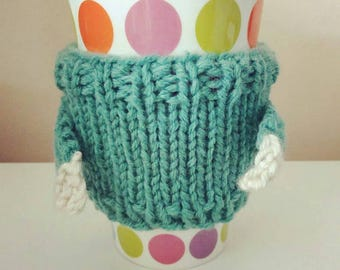 Handmade knitted cup cosy jumper