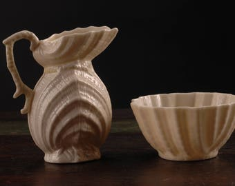 Belleek, Black Mark, Double Shell Creamer and Sugar, Ireland