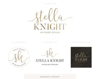 Logo Design & Business Card Brand Package, Photography Logo, Premade Logo Brand Kit with Photography Watermark, Black and Gold Logo