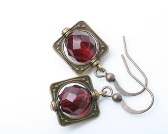 Red Earrings, Red glass earrings, Deep red vintage glass earrings, Christmas earrings, Red crystal dangle earrings, red jewelry, gift