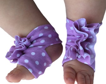 Baby Sandals - Baby Barefoot Sandals - Lavender Baby Shoes - Polka Dot Baby Shoes - Baby Girl - Baby Accessory - Soft Baby Shoes