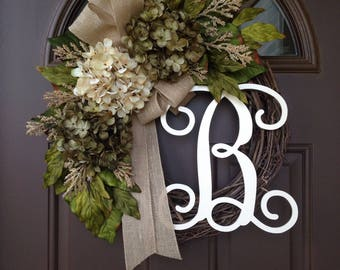 Everyday Wreath - Monogram Wreath - Year Round Wreath - All Season Hydrangea  Wreath - Grapevine Wreath with Burlap Bow - Monogrammed Wreath