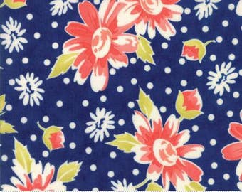 NEW! Moda COATED Floral Daisy Navy Coney Island by Fig Tree and Co Yardage 20280 11C