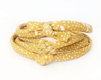 Baby Knot Headband, Knot Headband, Baby Girl Headband, Polka Dot Bow, Baby Knotted Headband, Gold Headband, Baby Photo Prop, Fall Accessory