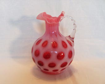 FENTON Cranberry Coin Dot Handled Jug Pitcher with Ruffled Edge from 1947 # 1934