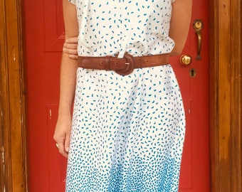 White and blue granny frock