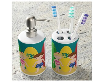 Vintage Surfboards Soap Dispenser & Toothbrush Holder - Personalized Kids Bathroom Accessories
