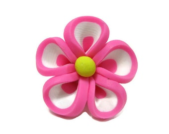 Pink Polymer Clay Flowers 22mm Beads Set of 4 (L01)