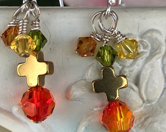 Cross Earrings, crystal earrings, orange and yellow earrings, faith earrings, Christian earrings, religious earrings, dangle earrings