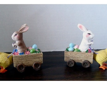 Miniature Rabbit Cart with Chick/ Resin/ 2 Color Choices/Minis/Supplies*