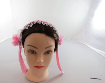 Pink and White Lace 1800 Civil War Morning Cap