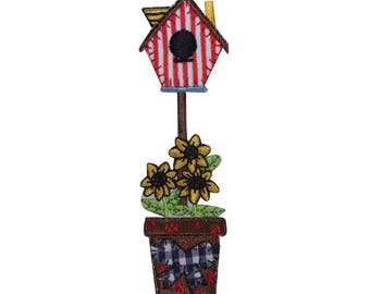 ID 3113 Bird House In Flower Pot Patch Garden Home Embroidered Iron On Applique
