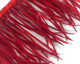 Goose Feather Trim, 1 YARD - RED Goose Biots Feather Trim : 152
