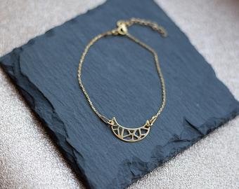 Gold Moon Bracelet   24k Gold Plated   925 Sterling Silver   Dainty Bracelet   Geometric Bracelet   Gold Chain   Crescent Moon Boho Bracelet