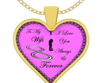 Wife Necklace, Gift For Wife, I Love You Always and Forever, Anniversary Gift, Wife Christmas Jewelry,  Heart Necklace For Wife, Wife Gift,