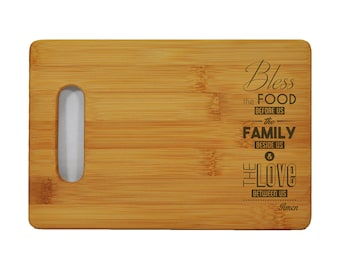 """Custom Bamboo Cutting Board - Popular Food Quotes - God Bless the Food - 6""""x9"""" - 1/2"""" Thick"""