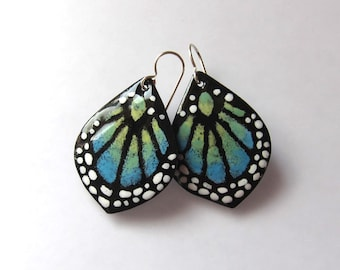 Blue butterfly dangle earrings Enamel wing earrings Nature inspired artisan jewelry Gift for her - nature lover