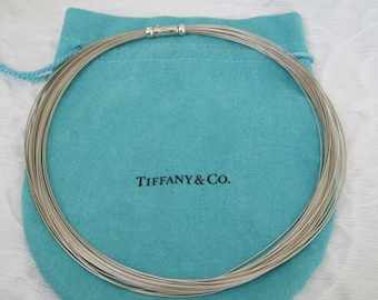 Tiffany and Co. Necklace Sterling Silver Multi Strand Collar Length Made in Germany Authentic
