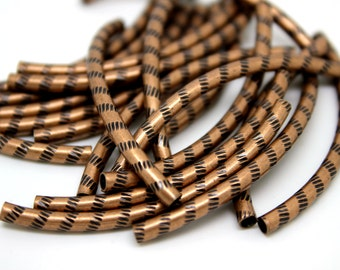 50mm x 3mm  Red Copper Brass Long Curved Noodle Tube Beads, Hammered Details 20 pcs
