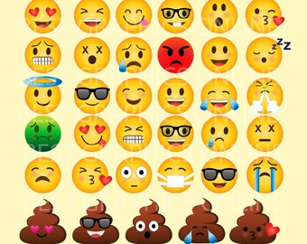 80% OFF SALE Emoji Clipart Smiley face clipart Emojis vector graphic Feelings clipart Face Emoticons Emoji Face GRPS1