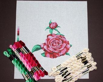 Red Rose Needlepoint Kit, Needlepoint Kit, Needlework Kits, Needlepoint Canvas Designs, Roses, Tapestry Designs, Open Rose Needlepoint Kit