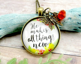 He Makes All Things New Christian Watercolor Pendant Necklace, Antique Bronze Shabby Chic Floral Style Encouragement Gift Scripture Verse