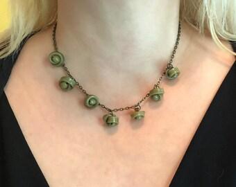 Necklace - Vintage Green Bakelite Buttons