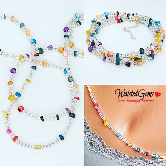 Multi Color Waist Beads, Belly Chain, Body Beads, Bikini, African Waist Beads, Boho Jewelry, waist beads zmw4434.3
