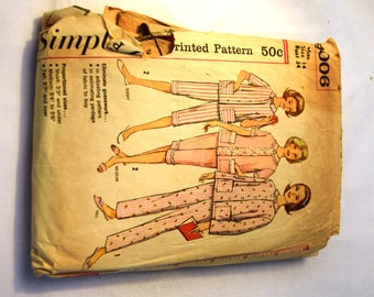 Vintage 1960s Simplicity 4006 misses pajama multi size sewing pattern