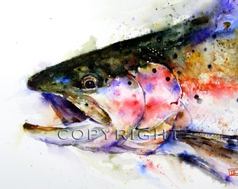RAINBOW TROUT Watercolor Fish Print, Fish Art, Trout Painting, by Dean Crouser
