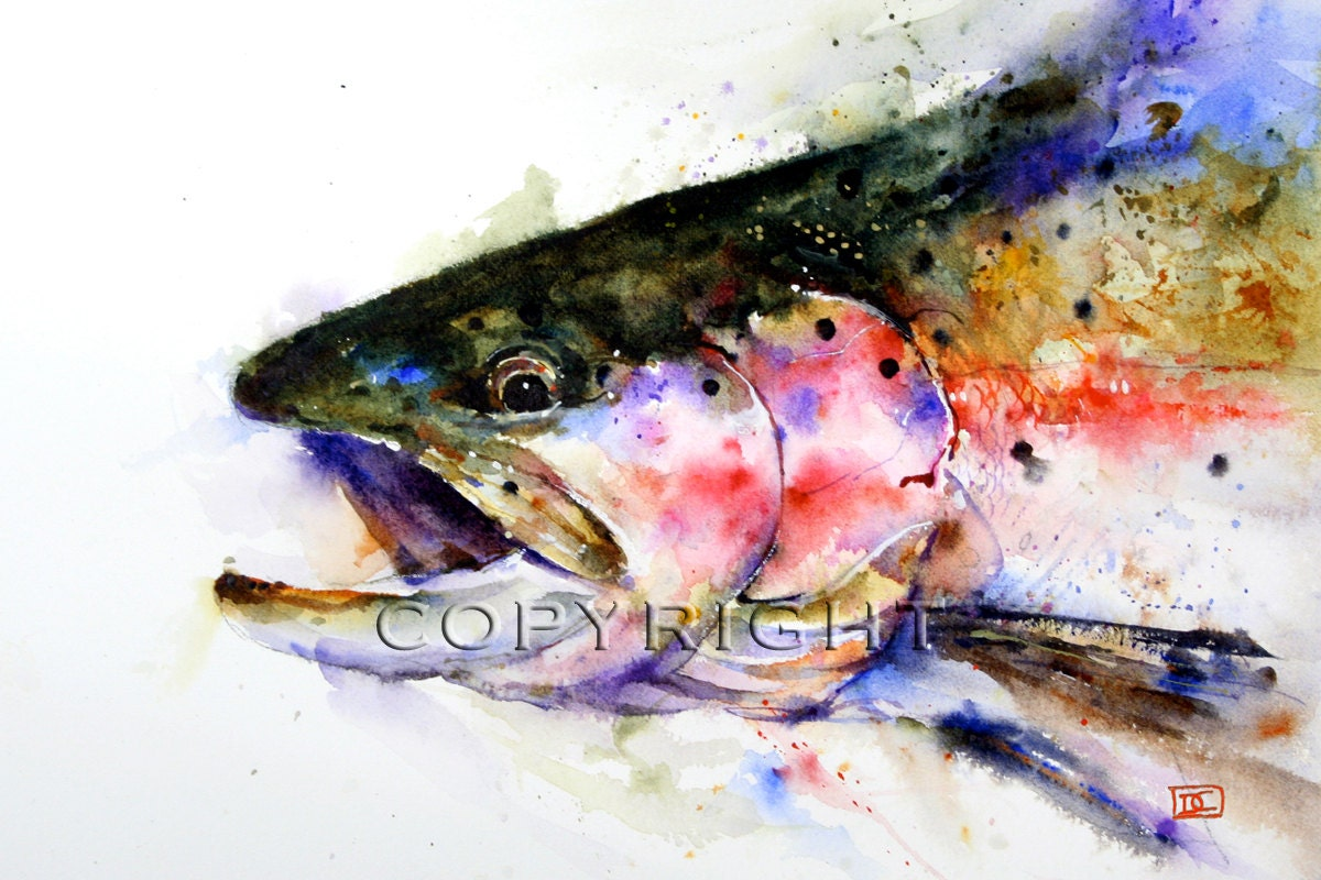 Rainbow Trout Watercolor Fish Print Fish Art Trout Painting