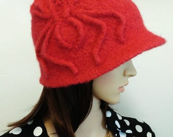 Vintage Style Hat, Felted Cloche. Spider, Web, Red, Wool, Halloween, Creepy