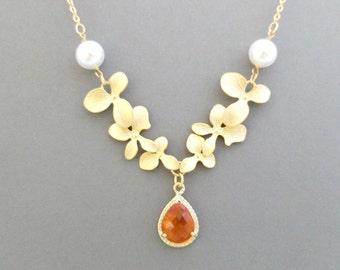 Custom, Stone, Color, Triple, Orchid, Flower, Gold, Silver, Pearl, Necklace, Wedding, Engagement, Reunion, Birthday, Gift, Jewelry