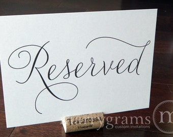 Reserved Sign Table Card - Wedding Reception Seating Signage - Reserved Table Number (Set of 2) Matching Numbers Available SS01