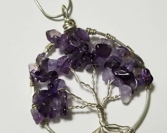 Amethyst Sterling Wire Wrapped Tree Of Life Vintage Pendant