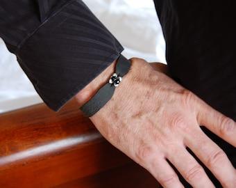 Black Eagle, Men's Leather Bracelets, Mens bracelet, sterling silver, black onyx, Women's Bracelet, Personalize it!