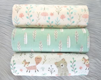 Baby Burp Cloths Set of 3, Baby Girl Gift, Woodland Baby, Baby Shower Gift, New Mums - Woodland